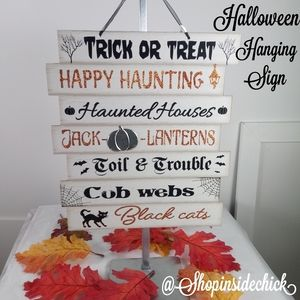 ❄4/$20 Halloween Themed Words Hanging Sign NEW